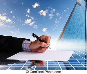 biznesmen, znacząc, dokumenty, ręka