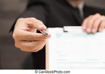 biznesmen, znacząc, niejaki, kontrakt
