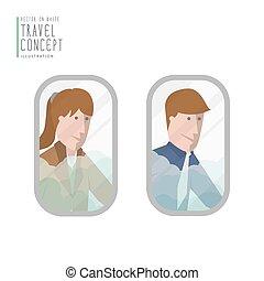 biznesmeni, wyglądając, przedimek określony przed rzeczownikami, airplane okno, płaski, vector.