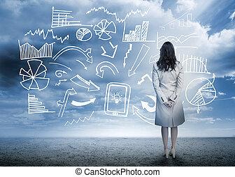 biznesmenka stanie, przeglądnięcie, dane, flowchart