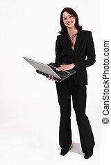 biznesmenka stanie, znowu, pracujący dalejże, jej, komputer