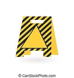 bizottság, vektor, icon-, figyelmeztetés, ábra, sárga
