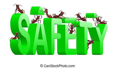biztonság, épület, oltalmaz, és, biztos