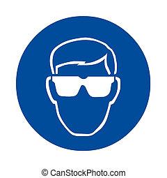 biztonság, aláír, szem protection
