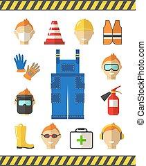 biztonság, -ban, work., munka, biztonság, lakás, icons., protective felszerelés
