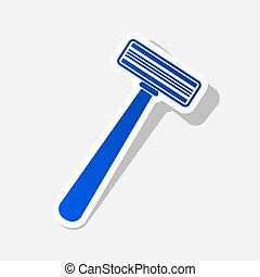 biztonság borotva, cégtábla., vector., újév, kékes, ikon, noha, kívül, ütés, és, szürke, árnyék, képben látható, csillogó szürke, háttér.