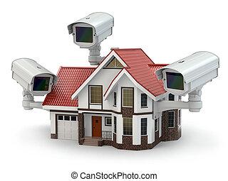 biztonság, cctv fényképezőgép, képben látható, a, house.