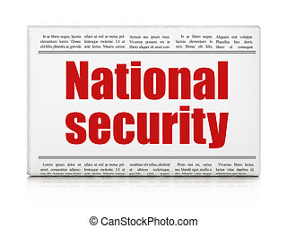 biztonság, concept:, újság főcím, nemzetbiztonság