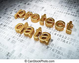 biztonság, concept:, arany-, oltalmaz, adatok, képben látható, digital háttér