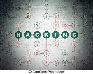 biztonság, concept:, csákányozás, képben látható, digitális, adatok, dolgozat, háttér