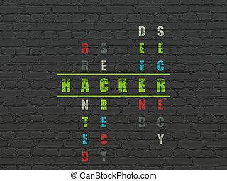 biztonság, concept:, hacker, alatt, keresztrejtvény