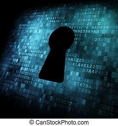 biztonság, concept:, kulcslyuk, képben látható, digitális, ellenző