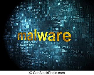 biztonság, concept:, malware, képben látható, digital háttér