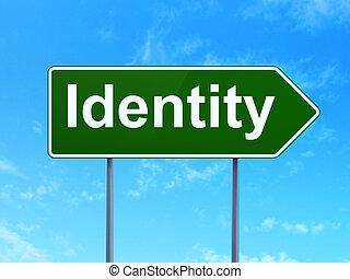 biztonság, concept:, személyazonosság, képben látható, út...