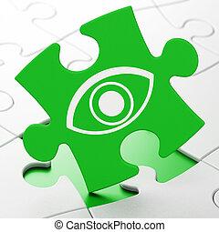 biztonság, concept:, szem, képben látható, rejtvény, háttér