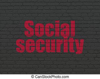 biztonság, concept:, társadalmi értékpapírok, képben látható, fal, háttér