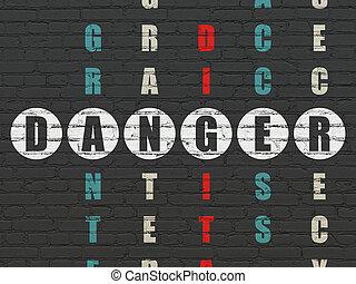 biztonság, concept:, veszély, alatt, keresztrejtvény