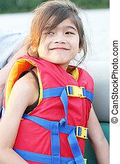 biztonság, csónakázik