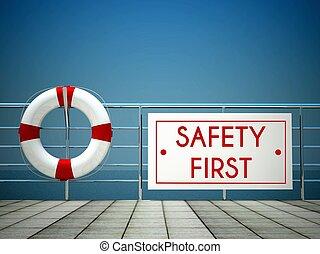 biztonság első, aláír, -ban, a, uszoda, mentőbólya