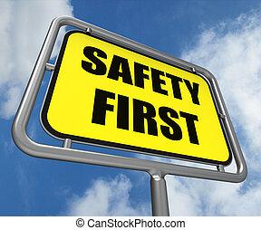biztonság első, aláír, javalló, megelőzés, felkészültség, és, biztonság