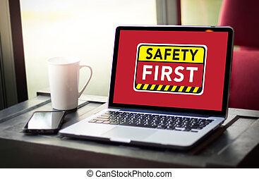 biztonság első, figyelmeztetés, concect, oltalmaz, figyelem,...