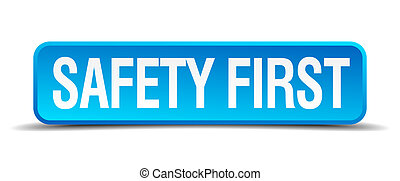 biztonság első, kék, 3, gyakorlatias, derékszögben, elszigetelt, gombol