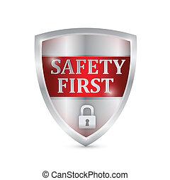 biztonság első, pajzs, ábra, tervezés