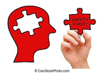 biztonság első, rejtvény, fej, fogalom