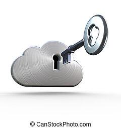 biztonság, felhő, cryptology, kiszámít