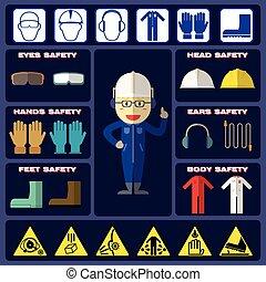 biztonság, fiú, noha, biztonság, equipments
