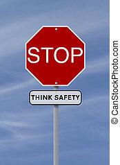 biztonság, gondol, stop: