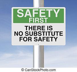 biztonság, helyettesít, nem