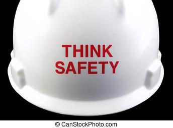 biztonság, kalap, gondol