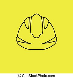 biztonság, kalap, nehéz kalap, sárga háttér, vektor