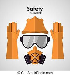 biztonság, munkában, ikon, tervezés