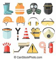 biztonság, munka, icons., biztonság, munkában, vektor, ikonok, collection.