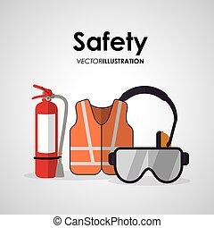 biztonság, munka, tervezés, ikon