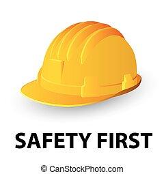 biztonság, nehéz kalap, sárga