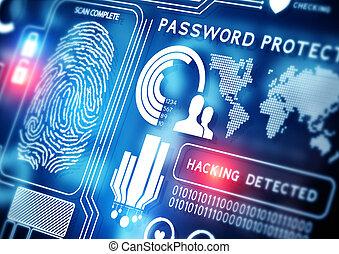 biztonság, technológia, online