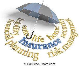 biztosítás, ügynökség, esernyő, kockáztat, tervezés, szolgáltatás
