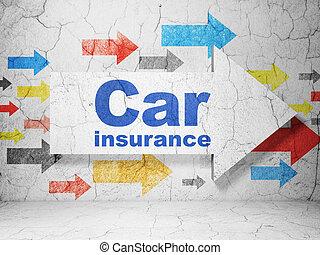 biztosítás, concept:, nyíl, noha, autó biztosítás, képben látható, grunge, fal, háttér