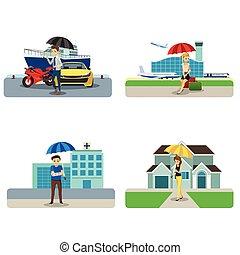 biztosítás, fogalom, cliparts