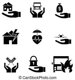 biztosítás, ikon, állhatatos