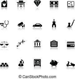 biztosítás, kapcsolódó, ikonok, noha, elmélkedik, white háttér