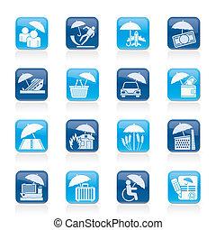 biztosítás, kockáztat, és, ügy icons