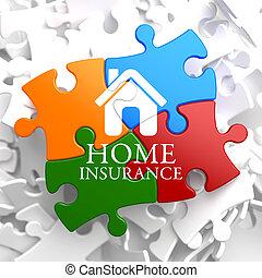 biztosítás, -, otthon, ikon, képben látható, sokszínű, puzzle.