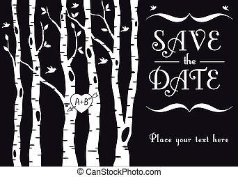 björk, inbjudan, bröllop, träd