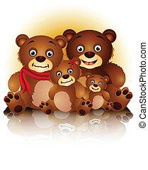 björn, harmoni, familj, lycklig