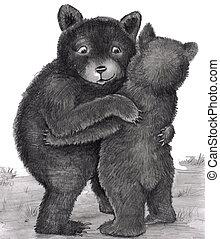 björn, hug., två björnar, krama, ute, in, natur