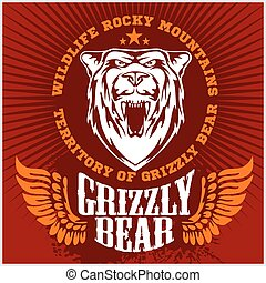 björn, huvud, emblem., -, vit